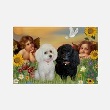Two Angels/2 Poodles Rectangle Magnet