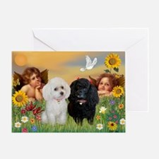 Two Angels/2 Poodles Greeting Card