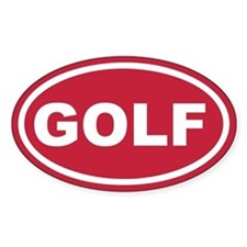 Red Golf Euro Oval Decal
