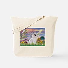 Cloud Angel White Poodle Tote Bag