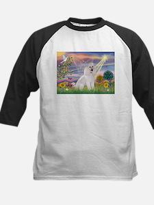Cloud Angel White Poodle Kids Baseball Jersey