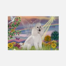 Cloud Angel White Poodle Rectangle Magnet