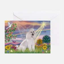 Cloud Angel White Poodle Greeting Card