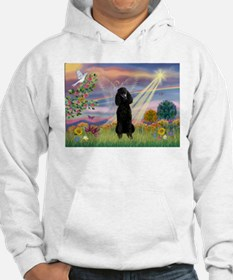 Cloud Angel Black Poodle Hoodie