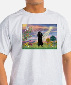 Cloud Angel Black Poodle T-Shirt
