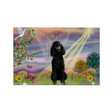 Cloud Angel Black Poodle Rectangle Magnet