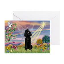 Cloud Angel Black Poodle Greeting Card