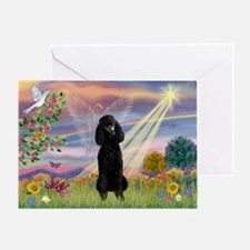 Cloud Angel Black Poodle Greeting Card