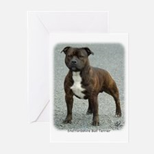 Staffordshire Bull Terrier 9F23-12 Greeting Cards