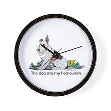 Fox Terrier Dog Homework! Wall Clock