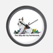 Fox Terrier Dog Homework! Wall Clock