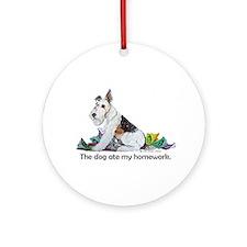 Fox Terrier Dog Homework! Ornament (Round)