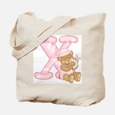 Teddy Alphabet X Pink Tote Bag