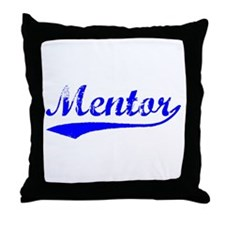 Vintage Mentor (Blue) Throw Pillow