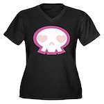 Love Skull Women's Plus Size V-Neck Dark T-Shirt