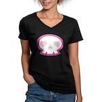Love Skull Women's V-Neck Dark T-Shirt