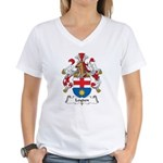 Leyden Family Crest Women's V-Neck T-Shirt