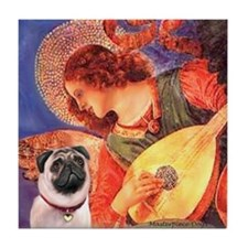 Mandolin Angel / Pug (f) Tile Coaster