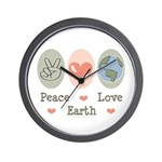 Peace Love Earth Wall Clock