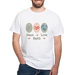 Peace Love Earth White T-Shirt