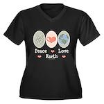 Peace Love Earth Women's Plus Size V-Neck Dark T-S