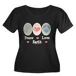 Peace Love Earth Women's Plus Size Scoop Neck Dark