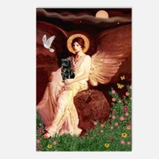 Seated Angel / Pug (blk) Postcards (Package of 8)