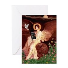 Seated Angel / Pug (blk) Greeting Card