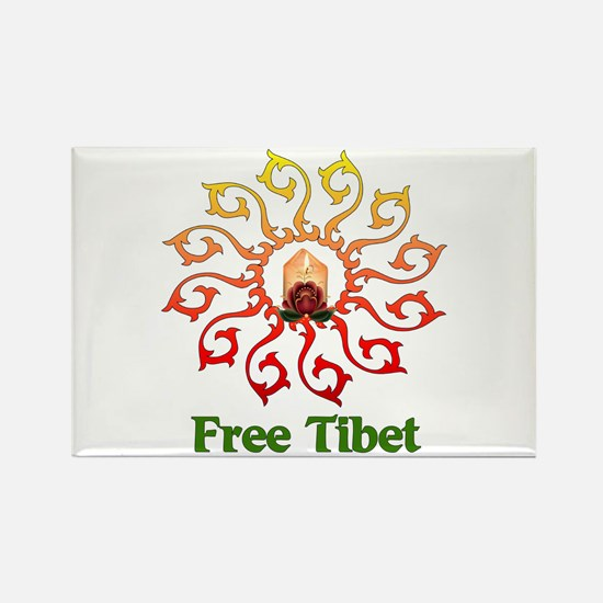 Free Tibet Candle Rectangle Magnet