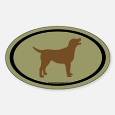 chocolate lab oval (blk/br/sage) Oval Decal