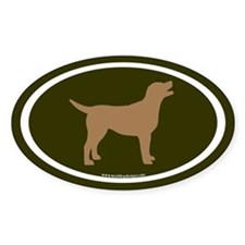 chocolate lab oval (wh/br/olive) Oval Decal