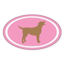 chocolate lab oval (wh/br/pink) Oval Decal