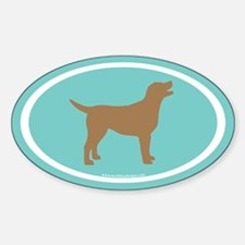 chocolate lab oval (wh/br/teal) Oval Decal