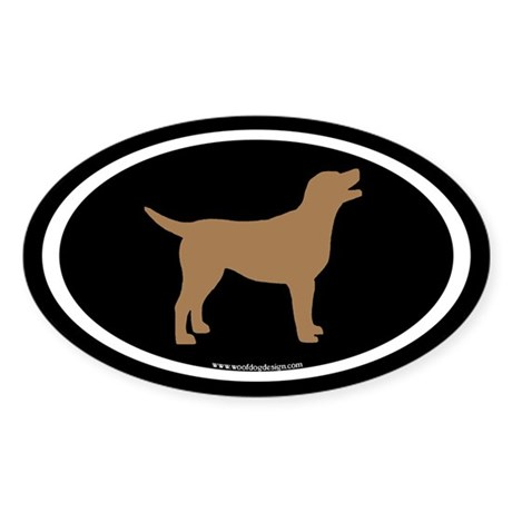 chocolate lab oval (wh/br/blk) Oval Sticker