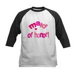Pink Kiss Maid of Honor Kids Baseball Jersey