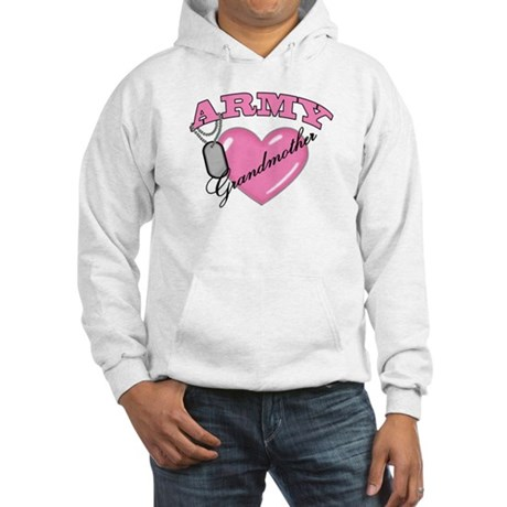 Army Grandmother Pink Heart N Dog Tags Hooded Swea