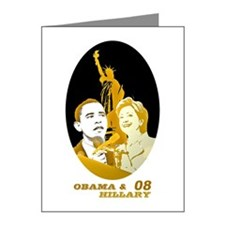 Barack & Hillary 08 Note Cards (Pk of 20)