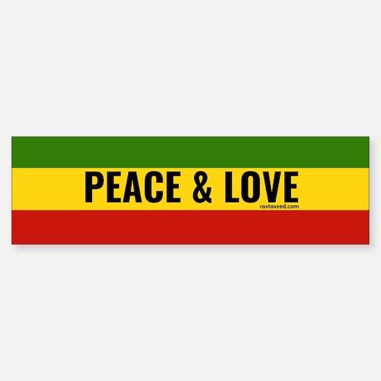 Peace and Love Rasta Bumper Bumper Bumper Sticker