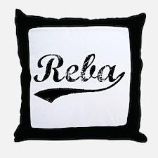 Vintage Reba (Black) Throw Pillow