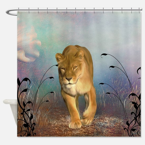 Awesome lioness in a fantasy world Shower Curtain