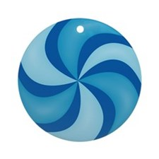 Blue Swirly Candy Ornament (Round)