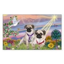 Cloud Angel - 2 Pugs Rectangle Decal
