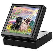 Cloud Angel & 2 Pugs Keepsake Box