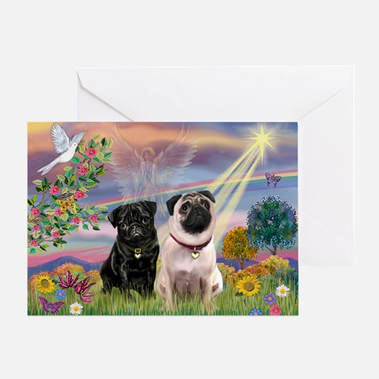 Cloud Angel & 2 Pugs Greeting Card