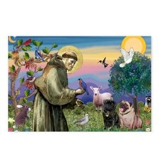 St. Francis & Pug Pair Postcards (Package of 8)