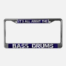 All About Bass Drum License Plate Frame Blue