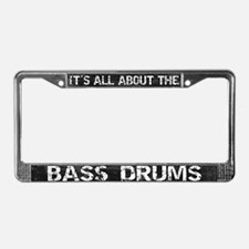 All About Bass Drum License Plate Frame Grey