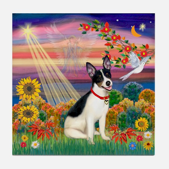 Autumn Angel /Rat Terrier Tile Coaster