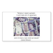 How John Wesley handled money Rectangle Decal