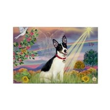 Cloud Angel & Rat Terrier Rectangle Magnet